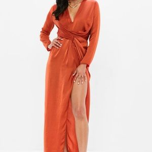 Misguided orange twist front maxi dress